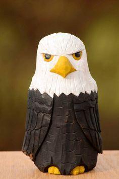 Hand Carved Bald Eagle Folk Art Cottonwood Bark by DuckMarshStudio Woodworking Articles, Custom Woodworking, Fine Woodworking, Woodworking Crafts, Popular Woodworking, Woodworking Furniture, Whittling Projects, Whittling Wood, Whittling Patterns