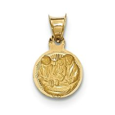 14k Gold Polished and Diamond-cut Baptism Circle Pendant. Fine jewelry is authenticated with manufacturer metal stamp. Unconditional 45 day Full Money Back Guarantee and Two Year Free Repair Policy. Comes with a beautiful jewelry gift box ready for any gift giving occasion ; This item does not ship with a chain.