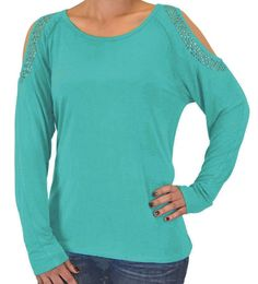 Cowgirl Tuff Women's Turquoise Open Shoulder Studded Long Sleeve Shirt H00462
