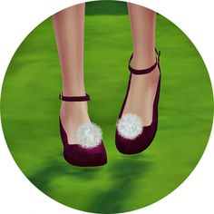 Pompom ankle strap flat shoes at Marigold via Sims 4 Updates