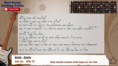 Hello - Adele Guitar Backing Track with scale, chords and lyrics