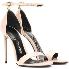 Tom Ford Embellished Leather Sandals ($1,065) ❤ liked on Polyvore featuring shoes, sandals, heels, neutrals, tom ford, heeled sandals, embellished shoes, decorating shoes and nude shoes