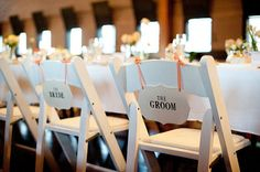 Custom Wedding Chair Signs from Susabellas