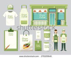 Vector restaurant cafe set shop front design, flyer, menu, package, t-shirt, cap, uniform and display design/ layout set of corporate identity mock up template. - stock vector