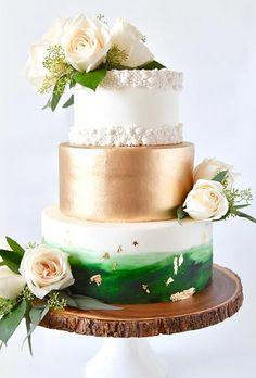 30 Beautiful Ideas Wedding Cake 2020/2021 ❤ wedding cake 2019 cake with gold ang green accent sweetcheatscakesn #weddingforward #wedding #bride