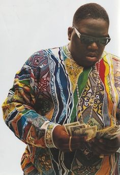 Top 5 Notorious BIG Trademarks  Coogi Sweaters / Versace Shades / Jesus Pieces / Kangol Hat / Cane