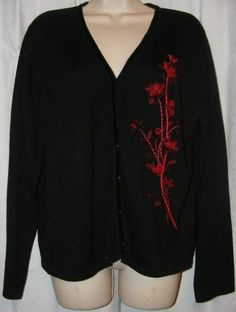$9.99 starting bid. Koret Black Burgundy Floral Embroidered Ribbon Wool Blend Cardigan Sweater L