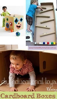 { DIY Educational Toys Using Cardboard Boxes } 12 Cardboard Box Project for Kids #Upcycling  #TickledMummyClub #DIYEducationalToys  #CardboardBoxCrafts