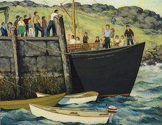 """Hail and Farewell (Monhegan Wharf),"" Leo Meissner, oil on board, 22 x private collection. Uncle Leo, Jamie Wyeth, Robert Henri, Monhegan Island, Rockwell Kent, Edward Hopper, Painters, Maine, Coast"