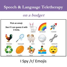 """Im using emojis for everything these days! Im making emoji """"I Spy"""" slides to help kids have fun while were working on their speech sounds. Heres the one for /r/. Once I get the rest finished Ill publish them for anyone to use! #SLP #Teletherapy"""