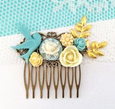 Blue Wedding Hair Comb Ivory Cream Bridal Head Piece Gold Leaf Branch Sprig Flower Hair Pin Floral Bridesmaid Hair Slide Bird Vintage Style