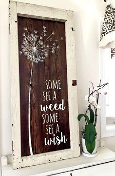 This specific beautiful wooden sign was originally made with 100 year old Wisconsin barn wood and an old farmhouse window frame and was sold at a local vintage sweet shop. It can be replicated and customized for you! A rich walnut-stained sign makes a statement in any room!! This sign is rustic in feel but modern in style. It is a great blend of shabby and chic. We embrace the imperfections of the knotty planks....we dont turn away a knot or uneven plank. This specific framed sign is sold…
