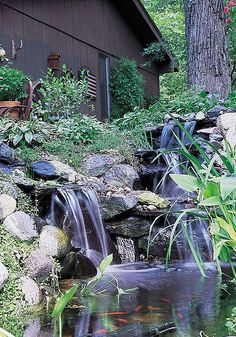 Backyard garden waterfalls