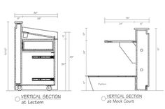 lecturn or hostess station millwork drawing