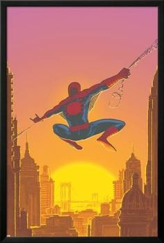 Lamina Framed Poster: Spectacular Spider-Man No.27 Cover: Spider-Man Swinging by Mark Buckingham : 38x26in