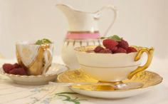 stunning Elsie Florence gold and buttercup vintage tea cup filled with fresh berry fool