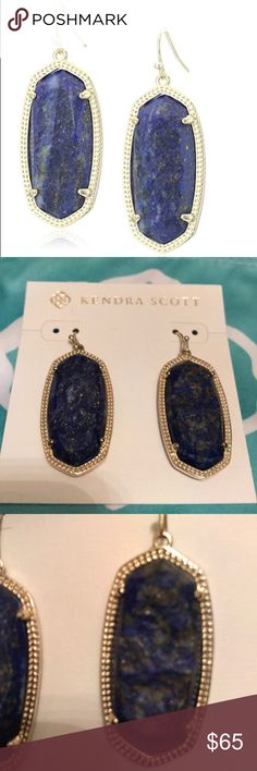 Rare Kendra Scott Elle raw cut lapis earrings Stunning and rare raw cut lapis earrings from Kendra Scott in the Elle style.  Excellent condition. KS bag included. Don't think these are available any longer through KS. Kendra Scott Jewelry Earrings
