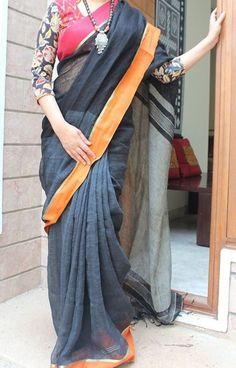 Elegant Black Pure Handloom Linen Saree