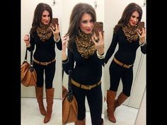 Creepy woman but cute Leopard scarf outfit Mode Outfits, Casual Outfits, Fashion Outfits, Womens Fashion, Casual Dresses, Look Fashion, Winter Fashion, Fashion Moda, Pinterest Fashion