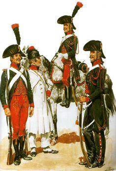 Cacciatori a piedi e cacciatori a cavallo delle guide di Bonaparte in Egitto