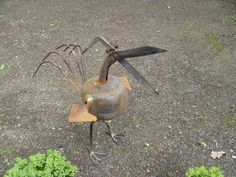 "Tooley Bird"" made from discarded garden tools and gas cylinder .720mm high"