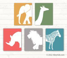 Jungle Animal Nursery Art, Elephant, Giraffe, Zebra, Lion,