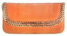ORANGE PYTHON CHAIN CLUTCH  by Cashhimi