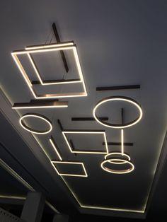 Custom Lighting, Modern Lighting, Lighting Design, Lamp Light, Light Up, Ceiling Lamp, Ceiling Lights, Gym Design, Commercial Lighting