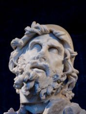 Head of Odysseus from a Greek 2nd century BC marble group representing Odysseus blinding Polyphemus, found at the villa of Tiberius at Sperlonga