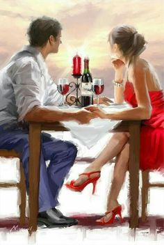 Trademark Fine Art 'Valentine Sunset' Canvas Art by The Macneil Studio, Size: 30 x Multi-color Couple In Love, Couple Art, Couple Hands, Oil Painting On Canvas, Diy Painting, Figure Painting, Painting Flowers, Sunset Canvas, Creation Photo