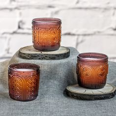 Set of 3 Vintage Glass Jar LED Flameless Candles by Candle Impressions. Made of real glass & wax with a 5 hour timer... no one can believe these are battery operated!
