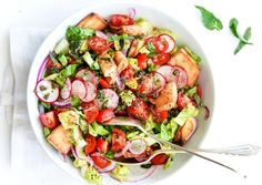 Mediterranean Diet Plan fattoush salad mediterranean recipes - Move away from Italy and Greece; get to know the rest of the Med with these vegetarian Mediterranean recipes, perfect for Meatless Monday. Healthy Food Delivery, Healthy Food List, Healthy Dinner Recipes, Healthy Snacks, Vegetarian Recipes, Mediterranean Appetizers, Mediterranean Recipes, Kids Diet, Dog Recipes