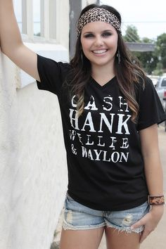 V-Neck Cash Hank Tee Country Girl Style, Country Girls, Country Music, Country Outfits, Rodeo Outfits, Concert Outfits, Southern Girls, Open Spaces, Jean Shorts