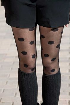 Spring Outfit: Judith In A Black Polka Dot Tights - TrendyLegs Sheer Tights, Black Tights, Polka Dot Tights, Polka Dots, Tights Outfit, Night Out, Stockings, Street Style, My Style