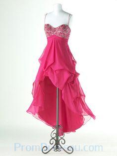hot pink bridesmaids dresses | Spaghetti Straps Asym Beading Chiffon Hot Pink Top Prom Dress New York