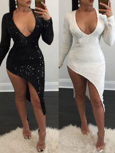 Sexy Sequined V Neck High Slit Irregular Dress