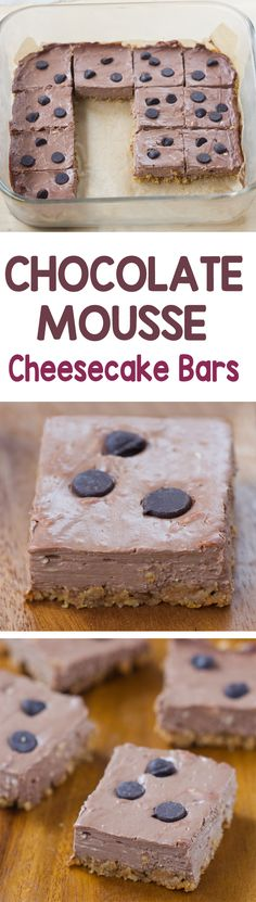 Chocolate Cheesecake Bars - Ingredients: 1/4 cup cocoa powder, 2/3 cup yogurt, 1/2 tsp vanilla, 1 tsp... Full recipe: http://chocolatecoveredkatie.com/2016/08/18/chocolate-mousse-cheesecake-bars/ @choccoveredkt