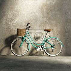 Bike Discover Old vintage romantic green bicycle stylish basket grungy wall Canvas Print Pixers - We live to change Old Bicycle, Bicycle Art, Old Bikes, Bicycle Design, Bicycle Helmet, Wooden Bicycle, Bicycle Hanger, Bicycle Stand, Trike Bicycle