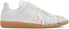 MAISON MARTIN MARGIELA Off-White Paint Splash Replica Sneakers. #maisonmartinmargiela #shoes #sneakers