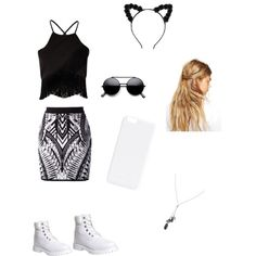 Black and white by saylorfashions on Polyvore featuring polyvore, fashion, style, Missguided, Balmain, Timberland, Banana Republic and ASOS