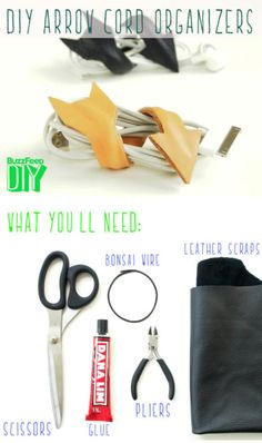 What you'll need: a pair of scissors, fabric glue, a piece of bonzai wire, pliers, and a scrap of leather. Fun Crafts, Diy And Crafts, Arts And Crafts, Diy Projects To Try, Craft Projects, Leather Scraps, Ideas Para Organizar, Cord Organization, Diy Couture