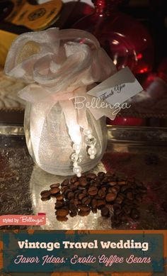Coffee Beans from Exotic Places | Vintage Travel-themed Wedding