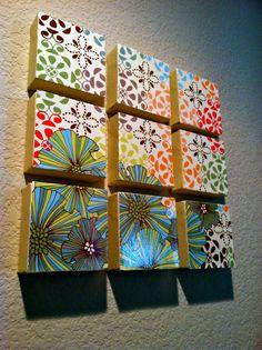 DIY Home Decor! 1.Choose 12x12 scrapbook paper. 2. Cut into 4x4 squares. 3. Mod Podge onto 4x4 canvas squares. 4. Paint sides of canvas a color. 5. Hang and enjoy :)