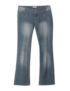 Distressed jeans have a two button flap pockets at the front and two button flap pockets at the rear. Zipper closure with two buttons at the top. Belt loops surround the waist. sonsi.com
