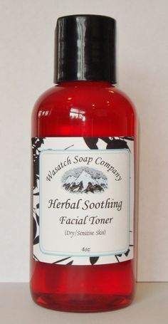 "Herbal Soothing Toner  Dry/Sensitive Skin by WasatchSoapCompany,                All natural herbs and extracts, to balance, nourish and soothe your skin without drying chemicals and harsh detergents and chemical ""unknowns""."