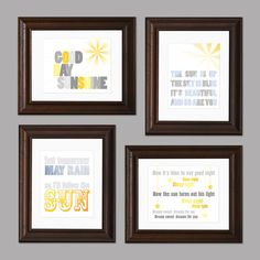 Sun and Sky Beatles Themed Set of Four Nursery Art by CisforColor, $65.00 (Maria would love these)