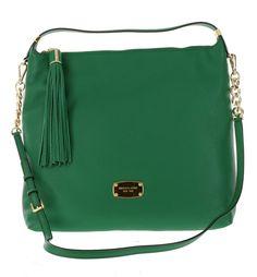 Michael Kors Pebbled Leather Bedford Large Tassel-Zipper Shoulder Bag Handbag Purse Satchel in Gooseberry