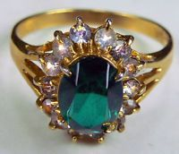 Pre-Owned 18K E Ladies Costume Cocktail Ring, Emerald Green w Rhinestones SZ 7.5