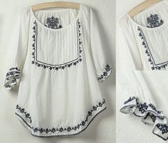 Vtg 70s Mexican Ethnic Floral Embroidery Blouse t shirt Women Tops White US12 #vtg70s #Blouse #CasualPartySpringSummerautumn