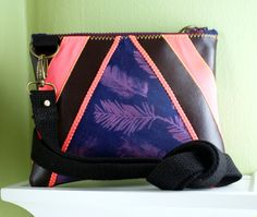 """Crossbody bad with hand made cyanotype fabric, vegan leather, and neon pink accents. This size is very practical, at approx. 8 x 6"""". Made by Oakland artist Stephanie Hatch. shatchdesigns.etsy.com"""